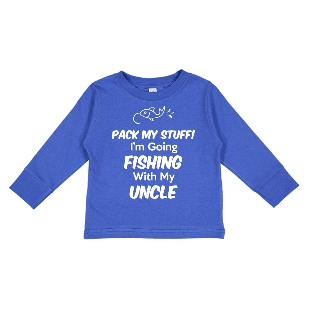 Toddler//Kids Long Sleeve T-Shirt Im Going Fishing with My Uncle Pack My Stuff