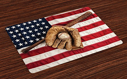 Ambesonne Baseball Place Mats Set of 4, Vintage Baseball Lea