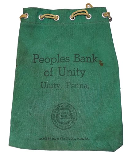 Old Cloth Canvas Peoples Bank Of Unity Coin Change Money Bag   Unity  Pa