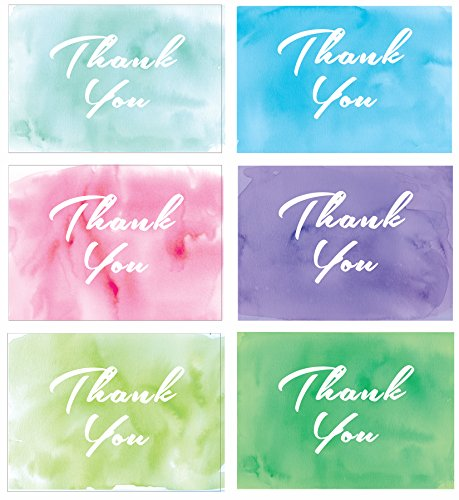 All Occasion Thank You Note Cards Watercolor Wash assortment, 36 note card boxed set, blank inside with envelopes - Wedding, Shower - Made in the USA
