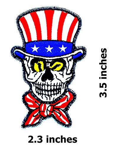 (Uncle Sam & Top Hat USA Skeleton Head Skull Ghost Lady Rider Biker Hippie Patch Bike Iron On/Sew On Patch)