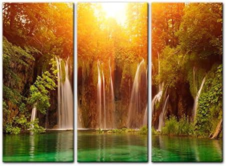 Bilderdepot24 Cuadros en Lienzo Cascadas, Lagos de Plitvice Croacia 120x90cm - Enmarcado Listo Bastidor Imagen. Directamente Desde el Fabricante: Amazon.es: Hogar