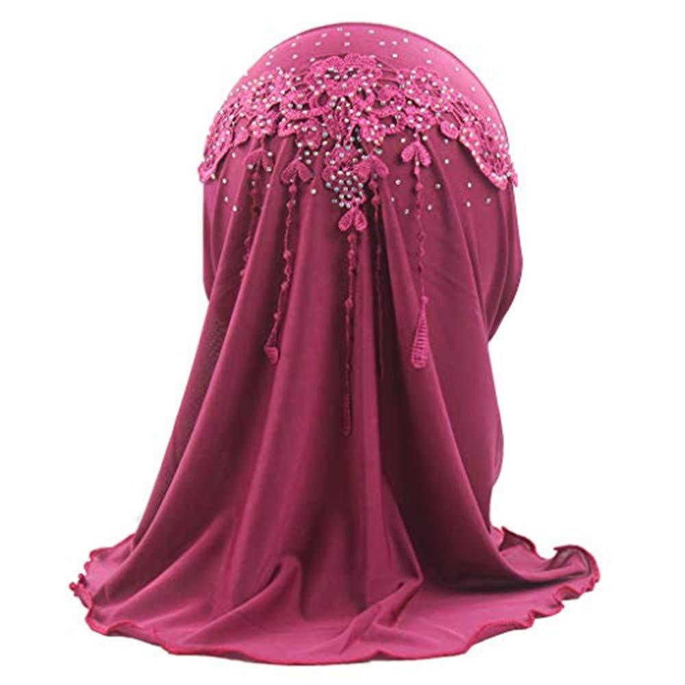 Girls Muslim Stretch Turban Hat Chemo Cap Hair Head Scarf Headwrap Embroidery Silk Cap Gift for Child