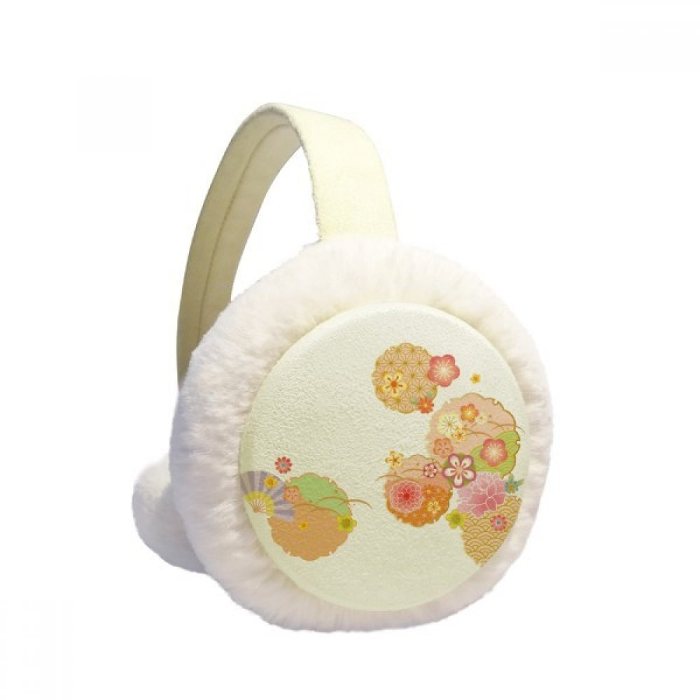 Folding Fan Sakura Pattern Geometry Winter Earmuffs Ear Warmers Faux Fur Foldable Plush Outdoor Gift