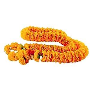 wonderflowers Artificial Big Size Yellow Marigold Garland 1.70 meter for Make A Wish 2