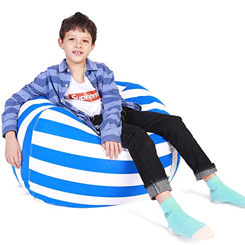 (Lukeight Stuffed Animal Storage Bean Bag Chair, Bean Bag Cover for Organizing Kid's Room - Fits a Lot of Stuffed Animals, X-Large/Blue Stripe)