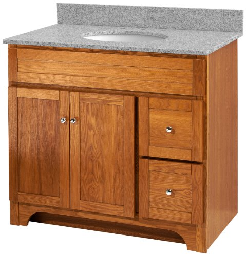 Foremost WROAT3621D-8M  Worthington 36-Inch Oak Bathroom Vanity with Meteorite Gray Granite Top and White Vitreous China Sink - Foremost Oak Vanity