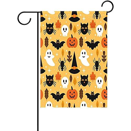 Startor Yellow Halloween Ghost Sugar Skull Garden Flag Cat Pumpkin Maple Leaves 28