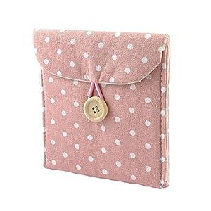 GBSTORE 2 Pcs Girl Soft Cotton Blends Polka Dots Sanitary Napkins Holder Bag Pink White