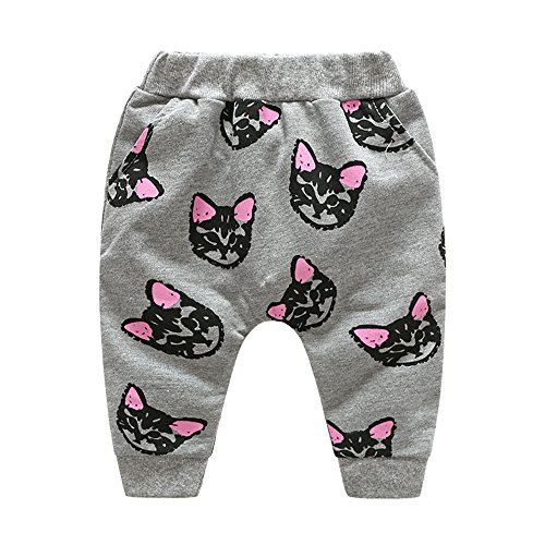Top and Top Toddler Baby Girls Cute Cat Sweatshirt Tops and Pants Tracksuit Outfits Set (Grey, 80/12-18 Months)