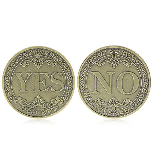 PoityA Commemorative Coin Floral YES NO Letter Ornaments Collection Arts Gifts Souvenir