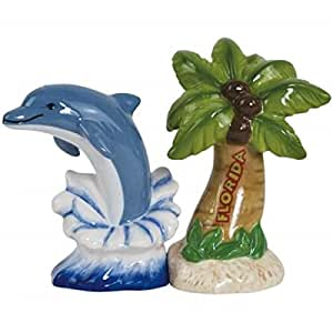 WL SS-WL-94461 Florida Dolphin and Palm Tree Salt & Pepper Shakers, 4""