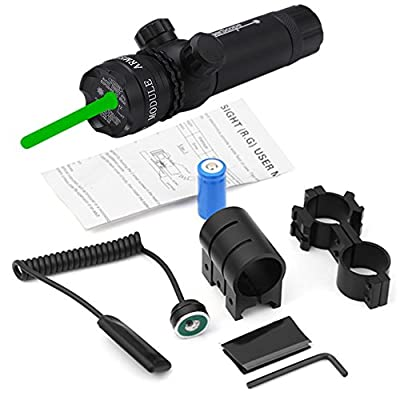 TZWNS Tactical Green Dot Sight Rifle Hunting Gun Scope Picatinny Rail Weaver Barrel Mount Pressure Switch Power 532nm Battery Charger Include