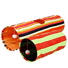 [Extra 30% OFF This Week Only!] Collapsible Cat Tunnel Toys (2-Pack) - Pet Tunnels and Tubes With Crinkle Peep Hole Design for Small Medium & Large Cats Dogs and Other Small House Animals by Pet Magasin