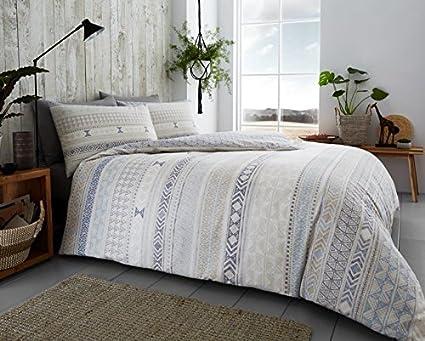 Grey Double GoldStar/® Tribal Stripes Brushed Cotton Flannelette Duvet Cover Floral Flannel Bedding Set