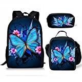 doginthehole Butterfly Printed School Bag One Set Backpack+Lunch Bag+Pencil Bag