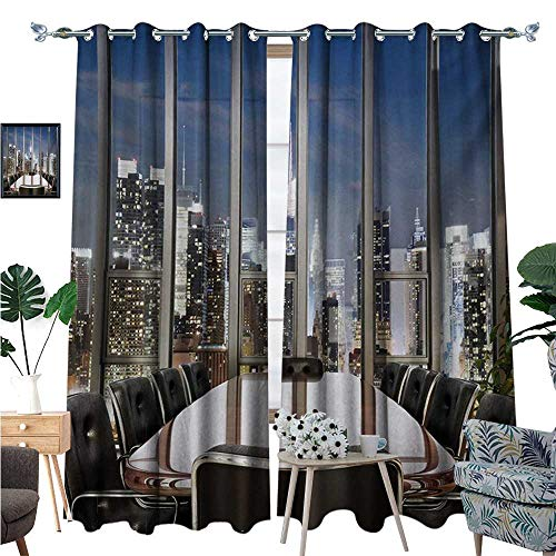BlountDecor Modern Window Curtain Drape Business Office Conference Room Table Chairs City View at Dusk Realistic Photo Decorative Curtains for Living Room W96 x L108 Grey Black Blue