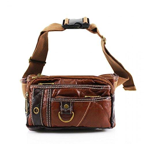 Unisex Cintura Cinturón de viajes dinero pasaporte cartera estuche billete Bum bolsa de Fanny Pack Festival marrón