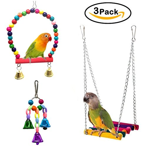 Swing Bird Toy - Mrli Pet Parrot Toy Bird Swing Toys Hanging Bells and Wooden Hammock Ladder for Budgie Love birds Cockatiels Conures Finches Small Parakeet Cages Toys (3 Pack)