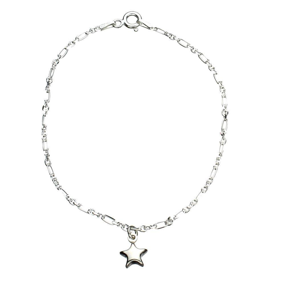 Sterling Silver Star Charm Anklet Italy, 11''