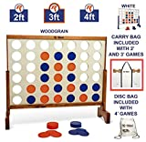 Giant 4 in A Row, 4 to Score with Carrying Bag - Premium Wooden Four Connect Game Set in 3  Wood Grain by Rally & Roar - Oversized Family Outdoor Party Games for Backyard, Lawn, Parties, Bar Game