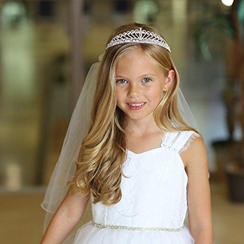 Angels Garment Girls White Pencil Edge Communion Flower Girl Tiara Veil