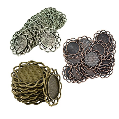Dovewill 60pcs Hollow Round Filigree Flower Bezel Tray Pendants Connectors DIY Jewelry Finding Crafts 20mm