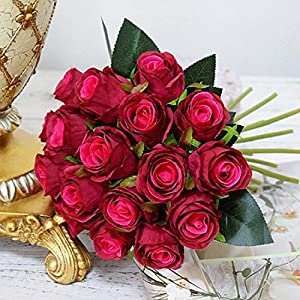 GSD2FF 18pcs/Lots Artificial Rose Flowers Wedding Bouquet White Pink Rose Silk Flowers Home Decoration Wedding Party Decor,Dark red,China 38