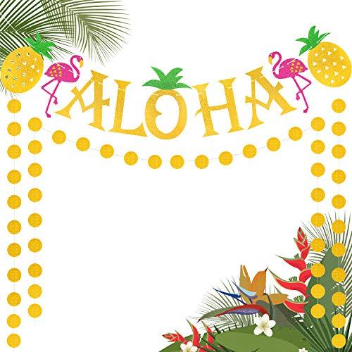 (Aloha Banner Flamingo Pineapple Tropical Themed Large Luau Hawaii Garland Summer Party Supplies Glitter Decoration)