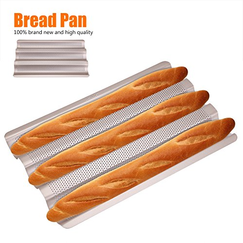 Baguette Perforated Pan, 10inch Non-Stick French Bread Pan Wave Loaf Bake Mold Baguette Baking Tray Perforated 3-slot for Oven Baking by Yosoo