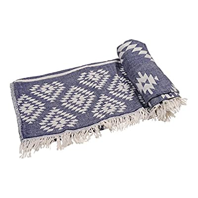 "Kilim Sand-Free Turkish Beach Towel Peshtemal Bath Towel Fouta Sarong, Dual-Layer Double-Sided 100% Cotton 35"" x 70"" (Navy Blue) - Lightweight 
