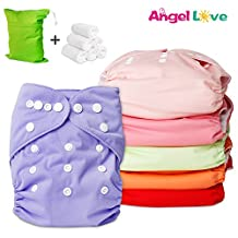 Baby Cloth Diaper, Angel Love Baby Reusable Washable All in one Size Cloth Pocket Diapers, Adjustable Snap, 6 Pcs + 12 Inserts, Gift Set, 2ZH02CA (Neutral Color)