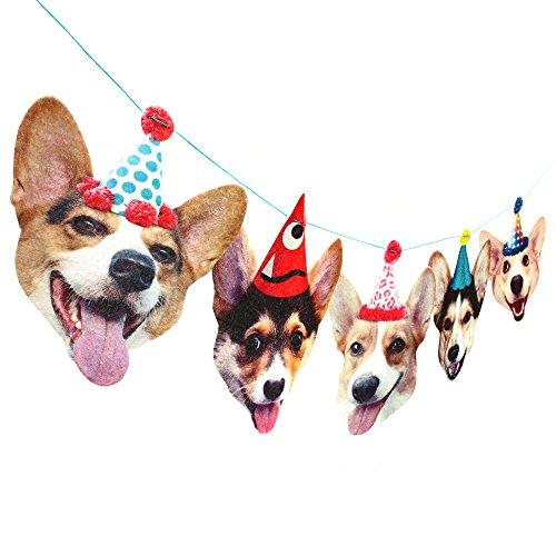 Corgis Birthday Party Banner Decoration - corgi dogs in hats - photo reproductions on felt