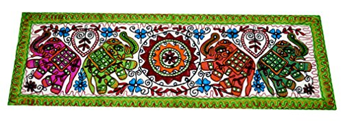 Ethnic Mirror Work Elephant Embroidered Wall Hanging Wall Decor 58x19.5 Inches