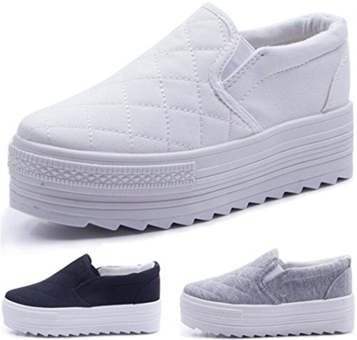 PPXID Women's High Platform Slip On Loafers Casual Canvas Student Shoes-White 6.5 US size (Canvas Platform)