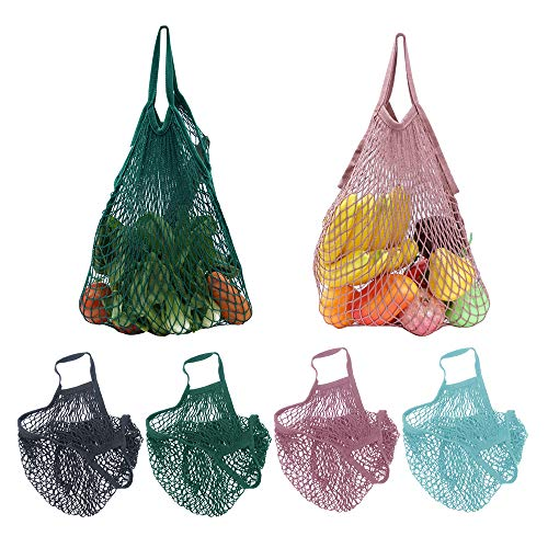4 Pack Reusable Cotton Mesh Grocery Bags, String Bag Organizer Shopping Handbag Net Tote for Grocery Shopping&Outdoor Packing, Storage, Fruit, Vegetable