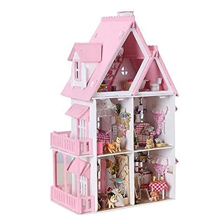Amazon Com Preeyawadee Diy Kit Dollhouse Wooden Doll House Unique
