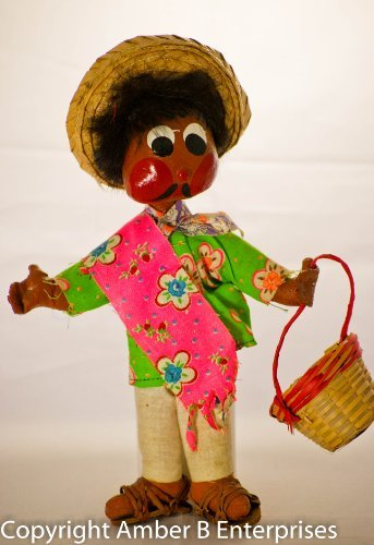 1970's - Mexican Souvenior Doll - Peasant Man - Straw Hat - Holding Straw Basket - Green Floral Linen Shirt - Pink Serape - Leather Hurache Sandals - Linen Pants - Hand Painted Face - OOP - Very Rare - Collectible