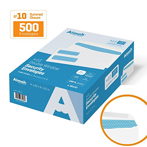 500 #10 Double Window Security Business Mailing Envelopes - for Invoices, Statements and Legal Documents - GUMMED Closure, Security Tinted - Size 4-1/8 x 9-1/2 - White - 24 LB - 500 Count (30101) (Dual Window Envelope)