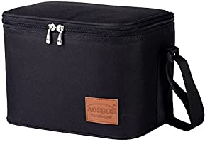 Aosbos Lunch Bag Insulated Reusable Lunch Box Tote Cooler Bag For Adults to Work,kids to School (Black)