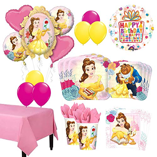 The Ultimate 8 Guest 53pc Beauty and The Beast Birthday Party Supplies and Balloon Decoration Kit -