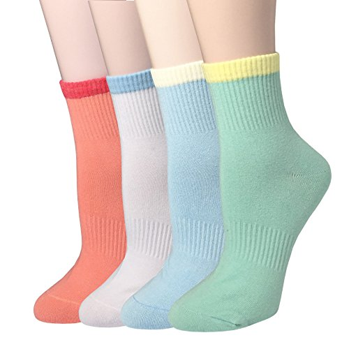 WEILAI Women Casual Blend Crew Yoga Sports Cotton Socks 4 Pairs