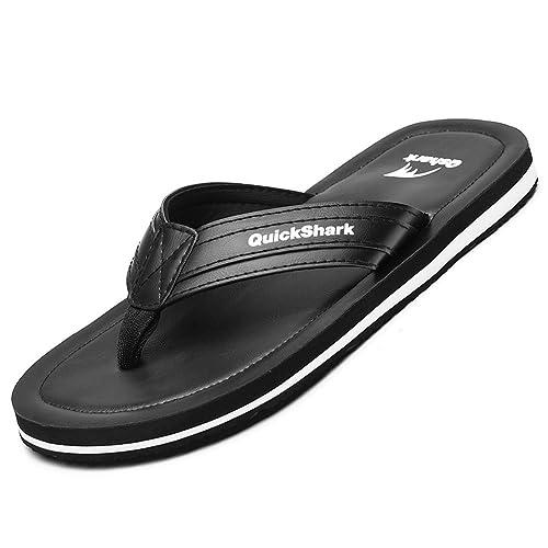 ab7caa51e210 Quickshark Mens Leather Flip Flops Handmade Thong Sandals Beach Slippers  Cushion Footbed (7 M US
