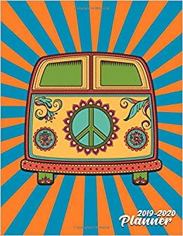2019-2020 Planner: Cute Hippie Volkswagen Psychedelic Daily ...