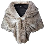 Caracilia Faux Fur Shawl Wrap Stole Shrug Winter Bridal Wedding Cover Up