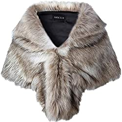 Caracilia Faux Fur Shawl Wrap Stole Shrug Winter Bridal Wedding Wrap FoxFur L CA95, Fox White / Brown