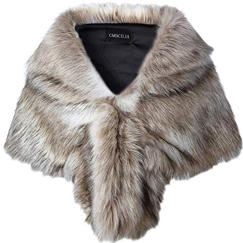 Caracilia Women Luxury Faux Fur Shawl Wrap Stole Cape For Wedding Fox Fur S CA95 Fox White / - Fox Brown Coat Fur
