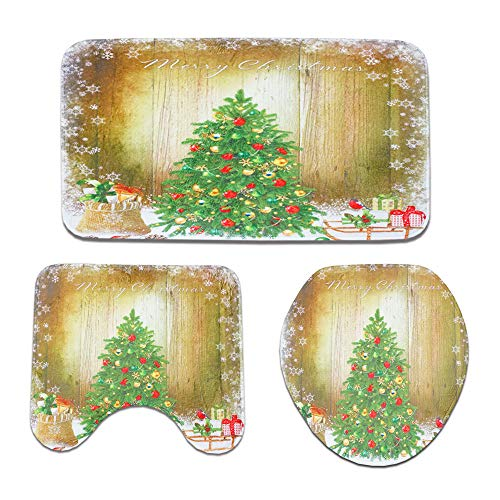 Christmas Decoration Hot Sale!!Kacowpper 3pcs Christmas Suction Grip Bath Mat Bathroom Kitchen Carpet Doormats Decor