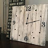 Square White Wall Clock with Distressed Finish, 20'' Created With Solid Wood made by Seeka Decor