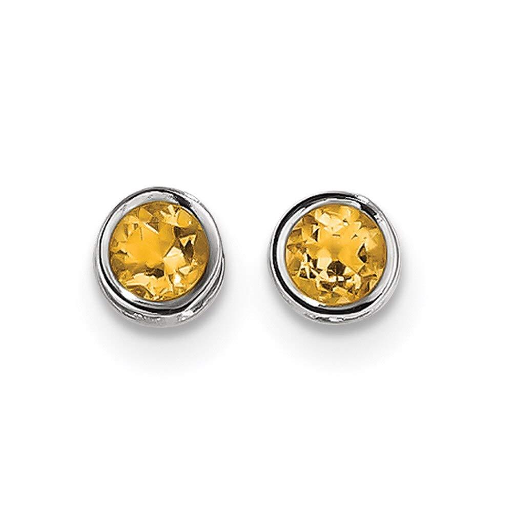 Lex /& Lu 14k White Gold 5mm Bezel Citrine Stud Earrings